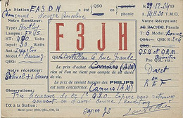 X120921 CARTE QSL RADIO AMATEUR F3JH FRANCE ALPES MARITIMES CANNES EN 1934  PUBLICITE PHILIPS - Radio Amateur