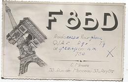 X120922 CARTE QSL RADIO AMATEUR F8BD FRANCE PARIS 8°  EN 1951  TOUR EFFEIL TOWER - Radio Amateur