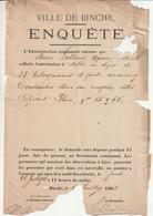 BINCHE 1892 ENQUETE Pour L'autorisation D'un Dépôt De Poudre Et De Cartouches  Chez Pierre Latteur, Grand Place 55/56 - Documenti Storici