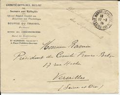 """Lettre Du Havre (spécial) Marque """"Présidence De La Chambre Des Représentations"""" De 1916 Belge Belgique - Zonder Classificatie"""