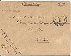Lettre De Criel Sur Mer De 1917 Pour Calais Armée Belge - Zonder Classificatie