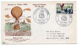 Journée Du Timbre 1955 Paris Sur N° 1018 Edition P.A.C Au Dos N° 980 Pour Les USA - 1950-1959