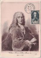 1er Jour D'émission - Ferney - Voltaire (1694-1778) - Carte Entaillée Côté Droit - 1 Exemplaire Sur 250 - ....-1949