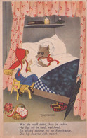 Red Riding Hood Wolf In Bed German Comic Old Postcard - Humor