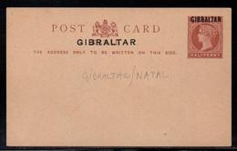 GIBRALTAR - QV /1886 - ENTIER POSTAL DU NATAL  1/2 P BRUN SURCHARGE / STATIONERY - POSTCARD (ref 991a) - Gibilterra
