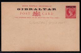 GIBRALTAR - QV /1886 - ENTIER POSTAL DE ST VINCENT 1 P CARMIN SURCHARGE / STATIONERY - POSTCARD (ref 991c) - Gibilterra