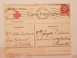 Carte Familiale Croix Rouge Française Niort Gare Deux Sèvres 1944 - Cruz Roja