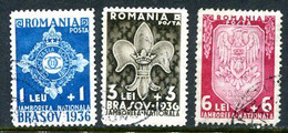 .ROMANIA 1936 Scout Jamboree Set  Used.  Michel 516-18 - Usado