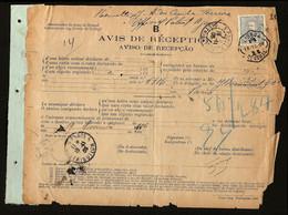 1906 AVISO De RECEPÇAO Avis Reception / Notice Receipt PORTUGAL To FRANCE Selo Mouchon D.Carlos 50 Reis - Covers & Documents