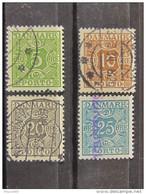 """DINAMARCA-Danimarca Impuestos -1930- """"Cifra"""" 4 Val.  US° (descrizione) - Port Dû (Taxe)"""