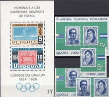 Set 1965 Uruguay Blocks 6+10 Mit Bl.-M. ** 7€ Fußball Olympiade 1928 Bloque S/s Blocs Olympics M/s Sheets Bf Soccer - 1930 – Uruguay