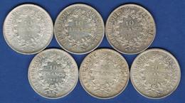 6 PIÈCES DE 10 FRANCS HERCULE EN ARGENT 20.350.1 - K. 10 Francs