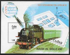 Cuba - 1999 12th Philatelic Congress - Steam Train Miniature Sheet MNH - Unused Stamps