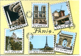 75 PARIS POSTE - Multivues Photographie Véritable Dans Le Style Reproduction De Timbres - Briefmarken (Abbildungen)