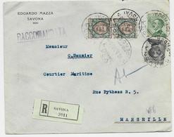 ITALIA 1 LIRE PAIRE +20C+30C LETTERA REC SAVONA  19.5.1925  TO FRANCE - Marcofilie