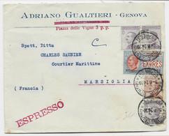 ITALIA 1.20 EXPRES +50CX3+30C LETTRE COVER EXPRESSO GENOVA 1924 TO FRANCE - Marcofilie