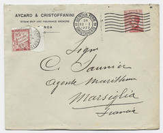 ITALIA 60C SOLO LETTRE LETTERA GENOVA FERR 20.1.1922 SMISTAMENTO TO FRANCE TAXE 30C BDF MARSEILLE - Strafportbrieven