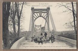 CPA 30 - MONTFRIN - Le Pont Suspendu - TB PLAN TB ANIMATION Entrée Route Avec TROUPEAU MOUTONS  Berger 1911 - Otros Municipios
