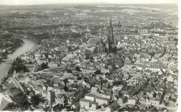 ALLEMAGNE, ULM - DONAU , VUE AERIENNE, ECRITE ET TIMBREE 1956 - Ulm