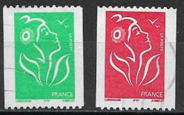 Oblitéré     N° 3742 & 3743   Légende  ITVF   Sans Valeur  Vert Et Sans Valeur Rouge  Avec N° à Droite - 2004-08 Marianna Di Lamouche
