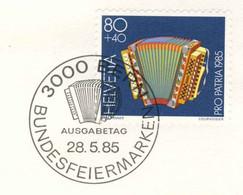 824  Accordéon, Musique: Env. Premier Jour Suisse, 1985 - Accordion FDC From Switzerland - Musica