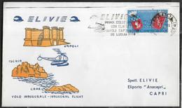 PRIMO VOLO - NAPOLI/CAPRI CON ELICOTTERO 20.LUGLIO 1959 - ANNULLO A TARGHETTA - Luchtpost