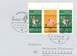 726  Basket-ball, Jeux Olympiques Munich 1972 - Summer Olympics: Basketball Sp. Cancel, Very Good Franking! - Baloncesto