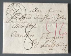 Suisse, Lettre De DELEMONT 11.6.1838 Pour Lentzburg - (B1177) - ...-1845 Voorlopers
