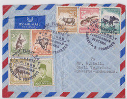 Indonesia Pan American First Air Mail Flight Djakarta To San Francisco Enveloppe Premier Vol Timbre Singe Varan Tapir - Otros (Aire)