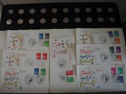 FDC Marianne De Luquet  - Premier Jour, Paris (14/07/1997) 7 Enveloppes - 1990-1999