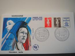 FDC Marianne De Briat (Triptyque TVP+0,70 F+vignette, Adhésif) - Premier Jour, Paris (02/08/1993) - 1990-1999