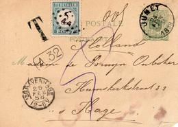 24 FEB 88 Briefkaart Van JUMET Naar 'sHage Met T-stempel En Portheffing Van 5 Cent - Briefe U. Dokumente