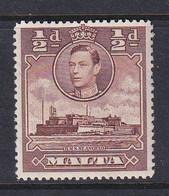 Malta: 1938/43   KGVI     SG218a    ½d   Red-brown   MH - Malte (...-1964)