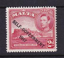 Malta: 1948/53   KGVI 'Self Government' OVPT    SG238    2d   Scarlet     MH - Malte (...-1964)