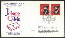 LA772    Germany 1964 Johannes Calvin, FDC Theologian - Theologians