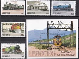 Lesotho 1984 - Mi.Nr. 484 - 488 + Block 23 - Postfrisch MNH - Eisenbahnen Railways Lokomotiven Locomotives - Trains