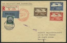 ZULEITUNGSPOST 406D BRIEF, Luxemburg: 1936, 1. Nordamerikafahrt, Auflieferung Frankfurt, Bedarfs-Einschreibbrief (rechts - Zeppelin