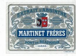 Etiquette Absinthe  Martinet Frères Pont De Beauvoisin Isère - Non Classificati
