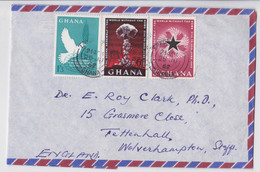 Ghana Lettre Timbre Colombe Bombe Atomique Atomic Nuclear Bomb Stamp Long Air Mail Cover To Wolverhampton 1962 - Ghana (1957-...)