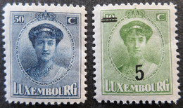 1921-1925 LUXEMBOURG Mi 136, 156, Grand Duchess Charlotte. Neufs* - 1921-27 Charlotte Voorzijde