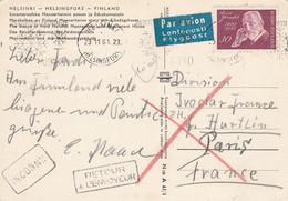 FINLANDE SEUL SUR LETTRE AVION POUR LA FRANCE 1961  RETOUR ENVOYEUR - Lettres & Documents
