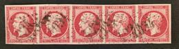 Bande 5 N17b Rose. Superbe - 1853-1860 Napoléon III