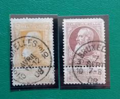 Belgique COB N° 77,79 Oblitéré Bruxelles 3-10 - 1905 Breiter Bart
