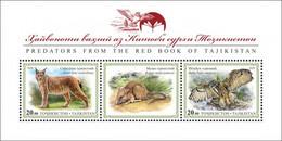 Tajikistan 2020 Turkestan Lynx & Eurasian Eagle-Owl. Bl Wit Label. OFFICIAL ISSUE - Tajikistan