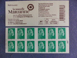 CARNET MARIANNE  L'Engagée TVP Vert  N° 007 Avec  Date Basse 26.06.18 - Freimarke