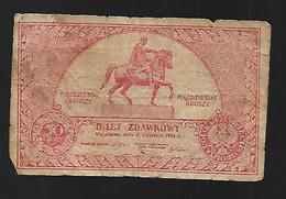 BILLET POLSKY POLOGNE 50 GROZBY BILET ZDAWKOWY 1924 - Pologne