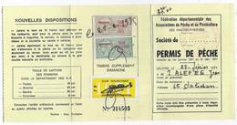 Timbres Taxe Piscicole Sur Permis De Pêche De 1971 ( Hautes Pyrénées ) - Revenue Stamps