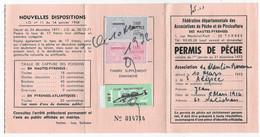 Timbres Taxe Piscicole Sur Permis De Pêche De 1972 ( Hautes Pyrénées ) - Revenue Stamps