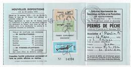 Timbres Taxe Piscicole Sur Permis De Pêche De 1973 ( Hautes Pyrénées ) - Revenue Stamps