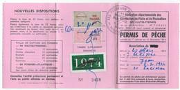 Timbres Taxe Piscicole Sur Permis De Pêche De 1974 ( Hautes Pyrénées ) - Revenue Stamps